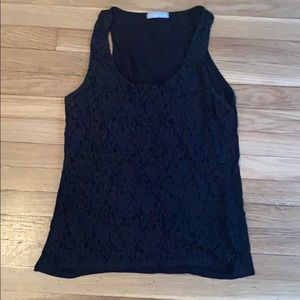 Olivia Moon Black Lace Front Tank Top Large